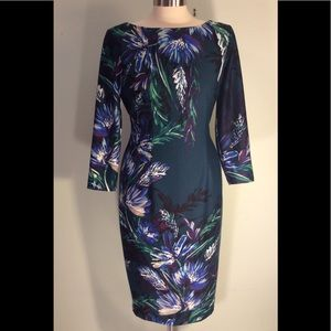 Eliza J long sleeve green dress with floral print.